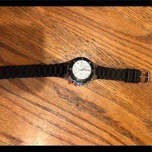 Michele black rubber watch